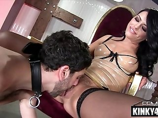 Raunchy porn actress femdom and ejaculation