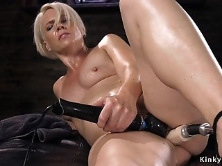 Blond housewife ass fuck fucks machine